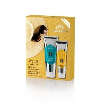 SOLARIUM kit protezione spf 15 viso corpo doposole nutriente